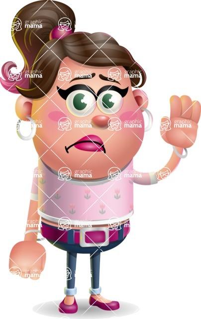 Cute Casual Girl Vector 3D Cartoon Character AKA Molly Chic - Goodbye