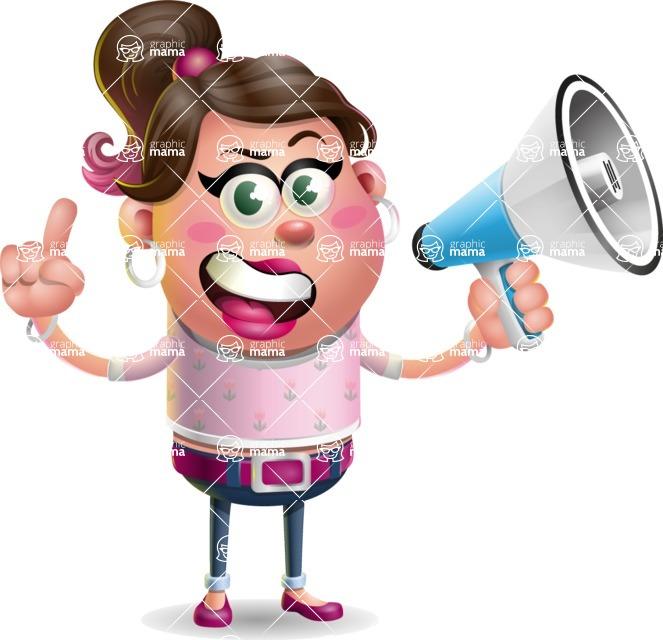 Cute Casual Girl Vector 3D Cartoon Character AKA Molly Chic - Loudspeaker