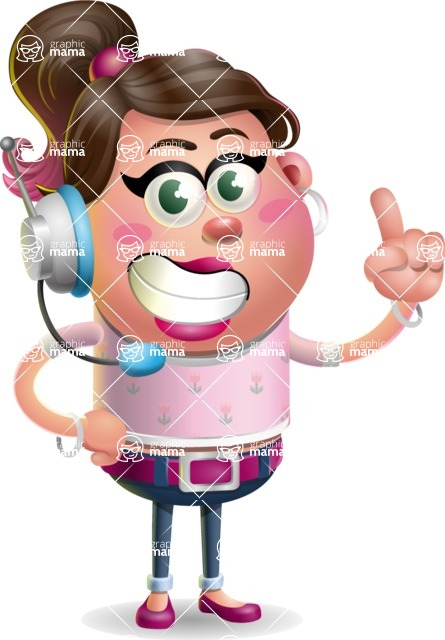 Cute Casual Girl Vector 3D Cartoon Character AKA Molly Chic - Support 2