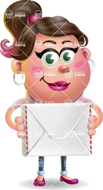 Cute Casual Girl Vector 3D Cartoon Character AKA Molly Chic - Letter