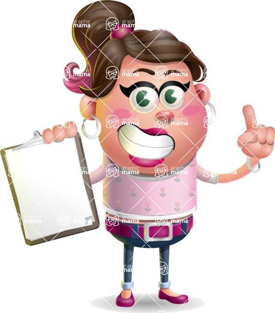 Cute Casual Girl Vector 3D Cartoon Character AKA Molly Chic - Notepad 1