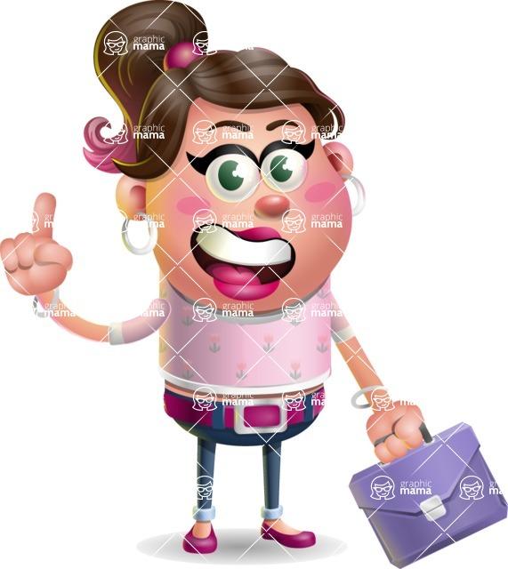 Cute Casual Girl Vector 3D Cartoon Character AKA Molly Chic - Briefcase 2
