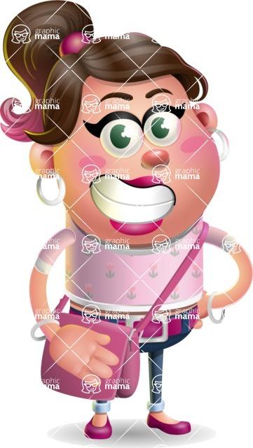 Cute Casual Girl Vector 3D Cartoon Character AKA Molly Chic - Travel 2