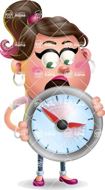Cute Casual Girl Vector 3D Cartoon Character AKA Molly Chic - Time is Yours