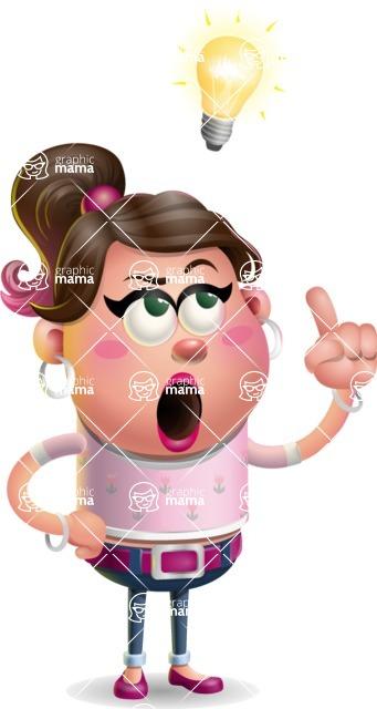 Cute Casual Girl Vector 3D Cartoon Character AKA Molly Chic - Idea 2