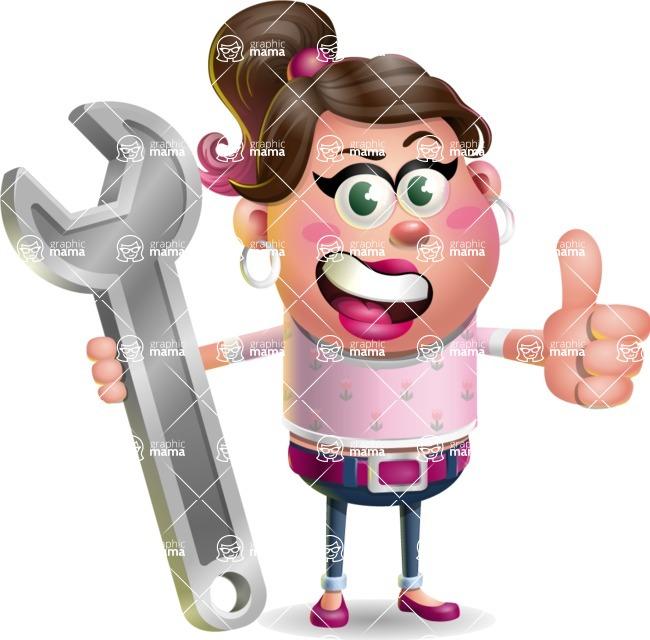 Cute Casual Girl Vector 3D Cartoon Character AKA Molly Chic - Repair