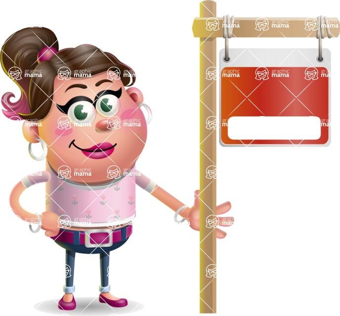 Cute Casual Girl Vector 3D Cartoon Character AKA Molly Chic - Sign 9