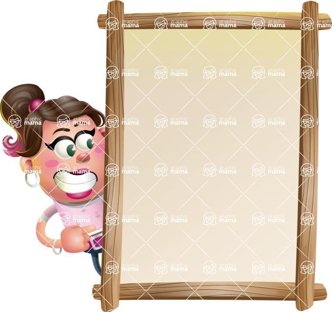 Cute Casual Girl Vector 3D Cartoon Character AKA Molly Chic - Presentation 4
