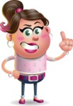 Cute Casual Girl Vector 3D Cartoon Character AKA Molly Chic - Attention