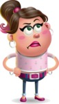 Cute Casual Girl Vector 3D Cartoon Character AKA Molly Chic - Roll Eyes