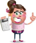 Cute Casual Girl Vector 3D Cartoon Character AKA Molly Chic - Calculator