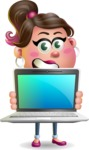 Cute Casual Girl Vector 3D Cartoon Character AKA Molly Chic - Laptop 2