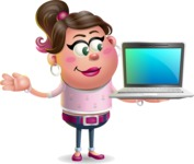 Cute Casual Girl Vector 3D Cartoon Character AKA Molly Chic - Laptop 3
