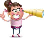Cute Casual Girl Vector 3D Cartoon Character AKA Molly Chic - Telescope
