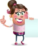 Cute Casual Girl Vector 3D Cartoon Character AKA Molly Chic - Sign 2