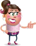 Cute Casual Girl Vector 3D Cartoon Character AKA Molly Chic - Point