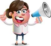 Vector 3D Office Woman Cartoon Character AKA Deona Smarts - Loudspeaker