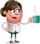 Vector 3D Office Woman Cartoon Character AKA Deona Smarts - Coffee