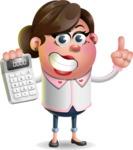 Vector 3D Office Woman Cartoon Character AKA Deona Smarts - Calculator