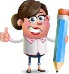 Vector 3D Office Woman Cartoon Character AKA Deona Smarts - Pencil