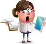 Vector 3D Office Woman Cartoon Character AKA Deona Smarts - Book and iPad