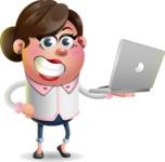 Vector 3D Office Woman Cartoon Character AKA Deona Smarts - Laptop 1