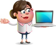 Vector 3D Office Woman Cartoon Character AKA Deona Smarts - Laptop 3