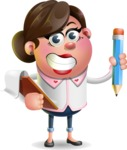 Vector 3D Office Woman Cartoon Character AKA Deona Smarts - Notepad 3