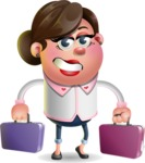 Vector 3D Office Woman Cartoon Character AKA Deona Smarts - Briefcase 3