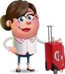 Vector 3D Office Woman Cartoon Character AKA Deona Smarts - Travel 1
