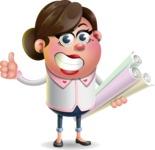 Vector 3D Office Woman Cartoon Character AKA Deona Smarts - Plans