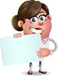 Vector 3D Office Woman Cartoon Character AKA Deona Smarts - Sign 3