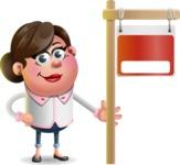 Vector 3D Office Woman Cartoon Character AKA Deona Smarts - Sign 9
