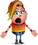 Punk Girl Cartoon Vector 3D Character AKA Harlow Rocks - Stunned