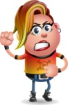 Punk Girl Cartoon Vector 3D Character AKA Harlow Rocks - Angry