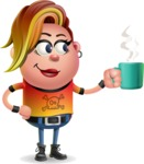 Punk Girl Cartoon Vector 3D Character AKA Harlow Rocks - Coffee