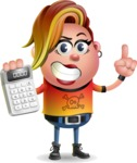 Punk Girl Cartoon Vector 3D Character AKA Harlow Rocks - Calculator