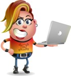 Punk Girl Cartoon Vector 3D Character AKA Harlow Rocks - Laptop 1