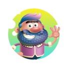 Man with Big Beard Cartoon 3D Vector Character AKA Ernest O'Beard - Shape 1