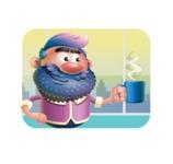 Man with Big Beard Cartoon 3D Vector Character AKA Ernest O'Beard - Shape 2