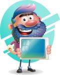 Man with Big Beard Cartoon 3D Vector Character AKA Ernest O'Beard - Shape 6