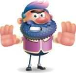 Man with Big Beard Cartoon 3D Vector Character AKA Ernest O'Beard - Stop