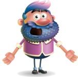 Man with Big Beard Cartoon 3D Vector Character AKA Ernest O'Beard - Stunned