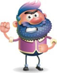 Man with Big Beard Cartoon 3D Vector Character AKA Ernest O'Beard - Angry