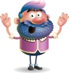 Man with Big Beard Cartoon 3D Vector Character AKA Ernest O'Beard - Shocked