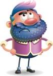Man with Big Beard Cartoon 3D Vector Character AKA Ernest O'Beard - Roll Eyes