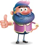 Man with Big Beard Cartoon 3D Vector Character AKA Ernest O'Beard - Thumbs Up
