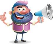 Man with Big Beard Cartoon 3D Vector Character AKA Ernest O'Beard - Loudspeaker