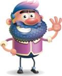 Man with Big Beard Cartoon 3D Vector Character AKA Ernest O'Beard - Wave