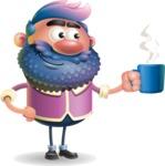 Man with Big Beard Cartoon 3D Vector Character AKA Ernest O'Beard - Coffee
